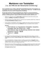 Infoblatt zum sinnvollen Markieren von Textstellen in einer Lektüre