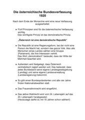 Die österreichische Bundesverfassung 1920