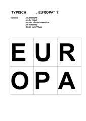 Kärtchen für Mindmap, Tafelbild: Typisch Europa