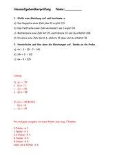 Hausaufgabenüberprüfung Terme/Gleichungen