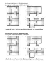 Quadratvierlinge - nach Rechnenkästchen zeichnen