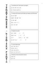 Binomische Formeln - Termumformungen