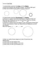Grundbegriffe Kreis-Übungsblatt