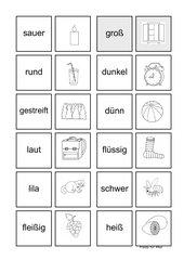 Memo-Spiel / Zuordnungsspiel (Übungen) zu Adjektiven