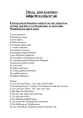 Übung  zum Genitivus subjectivus/objectivus