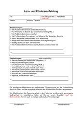 Lern- und Förderempfehlung Deutsch zum Ankreuzen