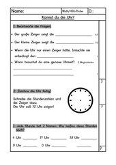 Probe: Uhrzeiten    1. / 2. Klasse, Bayern