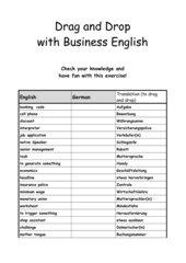 Anwendungsübung zu Drag und Drop mit Business Englisch