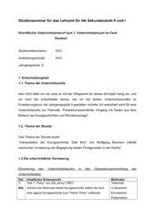 Unterrichtsentwurf zur szenischen Darstellung der Protagonisten in Wolfgang Borcherts Kurzgeschichte