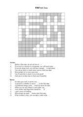 First Date - Crossword Puzzle & Solution