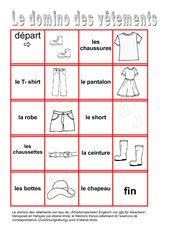 Les vêtements: Memo-Spiel / Zuordnungsspiel