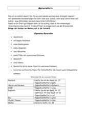 Materialliste, Klasse 5, Hauptschule