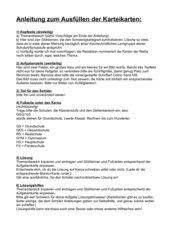 Anleitung zum Ausfüllen der Karteikarten