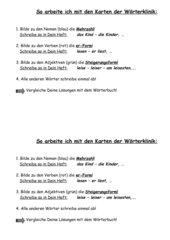 Arbeitsauftrag zur Wörterklinik (Lernwörterkartei)