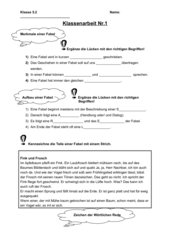 Fabel - Klassenarbeit (Aufbau, Merkmale und wörtliche Rede)