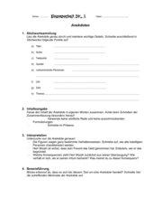 Klassenarbeit und Bewertungsbogen für eine Anekdote