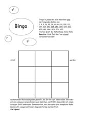Quadratzahlen - Bingo