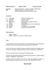 Klausur 12 / 13 Genetic Engineering / Globalisation