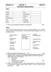 Personenbeschreibung (Test/ Klassenarbeit)