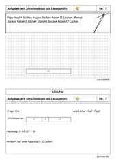 Sachaufgabenkartei - 3. Klasse - bis 100 - Rechnen mit Streifenskizze