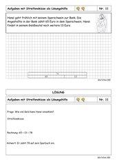 Sachrechenkartei - 3. Klasse - ZR bis 100 - mittelschwer - mit Streifenskizze rechnen