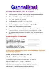 Grammatiktest - 6. Schulstufe Hauptschule