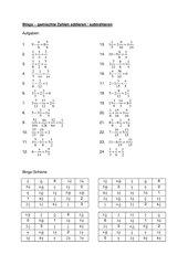 Bingo zur Addition und Subtraktion von gemischten Zahlen