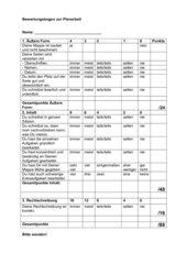 Bewertungsbogen Feiarbeit / Wochenplan / Mappe