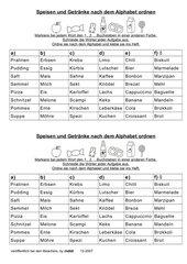 Wörter nach dem ABC ordnen (Speisen und Getränke)