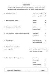Arbeitsblatt zum Thema 'Linsen/Sammellinsen'