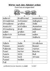Wörter nach dem ABC ordnen (ß - ss)