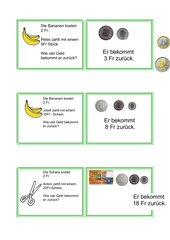 Aufgabenkartei Rechnen mit Geld / Schweizer Franken