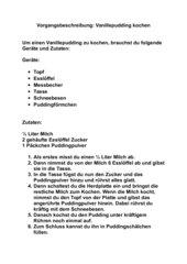 Musterlösung: Vorgangsbeschreibung: Vanillepudding kochen