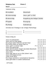 Test zum Thema Kirchenjahr Klasse 3