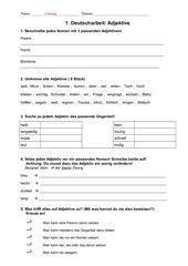 Arbeit Adjektive (Förderschule Klasse 6)