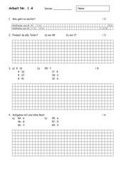 Mathearbeit Nr. 1 4. Klasse (Blatt A und B, inkl. Lösungen)