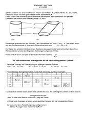 Arbeitsblatt Zylinder 2