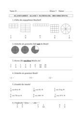 Klassenarbeit Mathe Bruchrechnen Klasse 5
