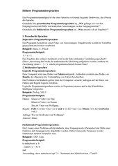 Programmierparadigmen (Höhere Programmiersprachen)