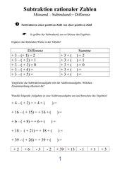 Rationale Zahlen - Subtraktion