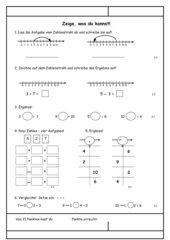 Mathematik - Lernzielkontrolle für die 1. Klasse