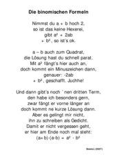 Gedicht Binomische Formeln