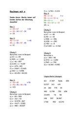 Rechnen mit x (Addition und Subtraktion)