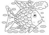 Rechenblatt zum Ausmalen (Regenbogenfisch)