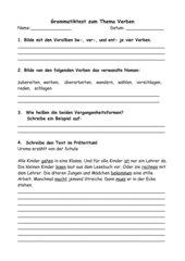Test zum Thema Verben (Vorsilben, Nomen, Vergangenheit, Pronomen) für Kl. 4 (BA-WÜ)