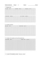Mathe-Arbeit 4. Klasse, schriftliche Division