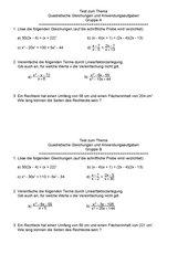 kleiner Test für Anwendung quadratischer Gleichungen