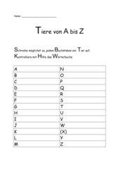 Tiere von A bis Z