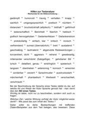 Wortschatz Stilbeschreibung