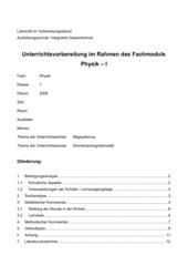Unterrichtsentwurf, Physik Elementarmagnetmodell